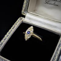 Antique Blue Sapphire & Rose Cut Diamond Marquise Navette 18ct Gold Ring (6 of 9)