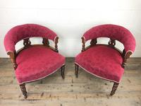 Pair of Victorian Mahogany Upholstered Tub Chairs (3 of 15)