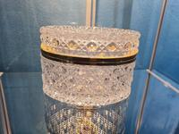 Antique Bohemian Cut to Clear Glass Crystal Box with Gilded Metal Mount (2 of 9)