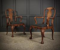Pair of Queen Anne Style Walnut Carver Chairs c.1920 (2 of 19)