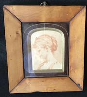 Antique Portrait  Miniature in Maple Frame