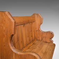 Antique Love Seat, English, Pine, Bench, Pew, Ecclesiastic Taste, Victorian (9 of 12)