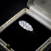 Antique Old Cut Diamond 10 Stone Double Row 18k 18ct Yellow Gold Ring (3 of 9)
