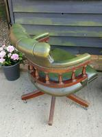 Vintage Mahogany Green Leather Captains Chair (3 of 6)