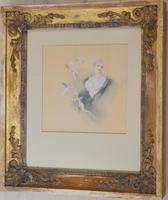 Fine Watercolour of a Lady with Cherubs by Lucius Rossi (3 of 5)