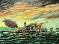 "Large Seascape Oil Painting WW2 Battle ""HMS Battleship Hood The Last Moments"" (4 of 12)"
