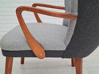 Danish lounge armchair, 60s, furniture wool, completely reupholstered (6 of 17)