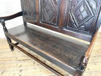 Antique Carved Oak Settle Bench (9 of 10)