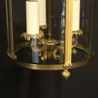 French Gilded Convex Triple Light Antique Hall Lantern (9 of 10)