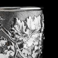 Antique Victorian Solid Silver Beaker / Cup with Superb Naturalistic Grapevine Design - Barnard 1871 (8 of 16)