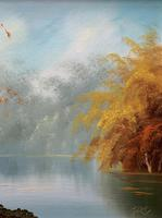 Immaculate Large Original Mid-20thc Vintage Autumn River Landscape Oil Painting (6 of 11)