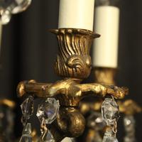 Italian Pair of 5 Light Antique Chandeliers (6 of 8)