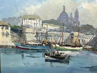 Dutch Oil Painting Fishing Harbour Channel Coast Signed Bernhard Laarhoven (12 of 34)