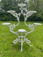 Victorian 19th Century Garden Cast Iron Painted White 6 Branch Plant Stand (8 of 47)