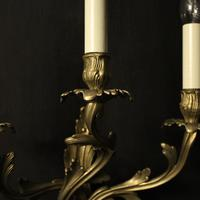 French Pair of Triple Arm Brass Wall Lights (8 of 10)
