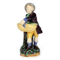Minton Majolica Pottery Boy Holding a Basket Salt