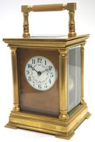 Antique Striking French 8-day Carriage Clock Unusual Masked Dial Case with Enamel Dial (5 of 11)