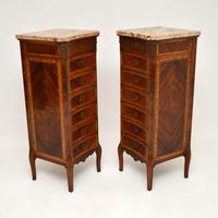 Pair of Antique French Marble Top Slim Chests of Drawers (8 of 11)