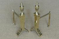 Edwardian Neo Classical Adam Urn Brass Fire Irons & Brass Fire Dogs Companion Set c.1910 (4 of 11)