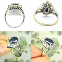 Vintage 18ct white gold sapphire diamond cluster ring ~ 1.55ct sapphire (3 of 10)