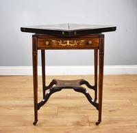 Victorian Rosewood Inlaid Envelope Card Table (4 of 10)