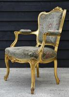 Beautiful Matched Pair of Fine Quality French Gilt Armchairs c.1900 (7 of 18)