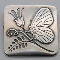 Georg Jensen Silver Butterfly & Flower Brooch, Rare