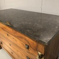 French Cherry & Marble Top Commode Chest of Drawers (4 of 8)