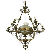 Large Tall 5Ft High Art Deco French Brass Chandelier Lighting 7 Branch Glass Dome