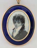 Miniature Portrait Georgian Gentleman 1790 En Grisaille