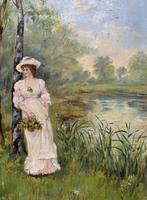 'R.M Stewart' Original Lovely 19thc Elegant Lady Oil Portrait Painting '1886' (3 of 11)