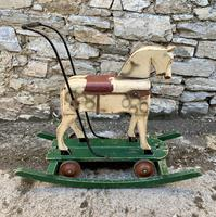 Antique Wooden Push Along Rocking Horse Toy (9 of 19)