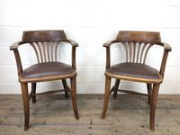 Pair of Early 20th Century Oak & Leather Desk Chairs (2 of 10)