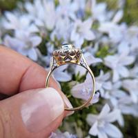 Vintage 18ct Gold Aquamarine & Diamond Cluster Ring, 18k Dress Cocktail Statement (2 of 12)