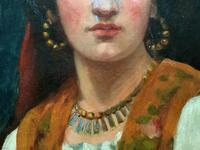 Fine Original 19th Century Antique Portrait Oil Painting of a Stunning Young Gypsy Girl (3 of 11)