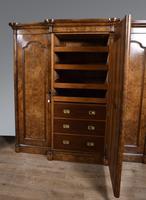 Large Antique Walnut Breakfront Triple Wardrobe (4 of 5)