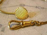Vintage Pocket Watch Chain 1970s 12ct Gold Plated Albert & Ornate Button Hole Fob (8 of 10)