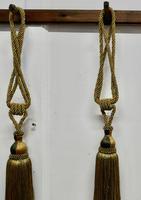 Large French Gold Silk Hand Made Tassels, Passementerie Curtain Tiebacks (4 of 5)