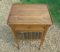 Antique French Fruitwood Bedside Cabinet Leather Book Fronts (7 of 8)
