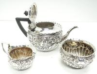 English Victorian Antique Solid Silver Tea Set, Embossed Decoration c.1890 (11 of 11)
