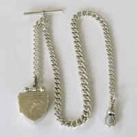 Antique Silver Watch Chain with Unusual Locket