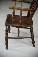 Antique Elm & Beech Lathe Back Kitchen Chair Armchair (3 of 11)