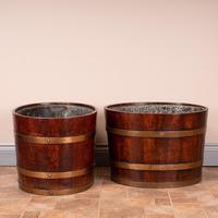 Pair Of Large Oval Oak Brass Bound Log Buckets (15 of 21)