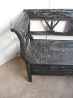 A Funkily Painted Black & Grey Antique/Old Pine Kitchen/Hall Box Settle / Bench (6 of 10)