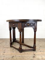 Carved Oak Fold-over Demi Lune Table (6 of 10)