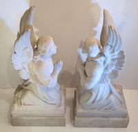 Pair of 19th Century White Marble Statues of Angels (3 of 8)