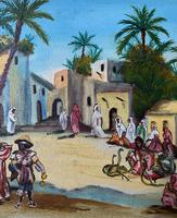 The Snake Charmer - Moroccan School - Vintage - 1960s - Original Oil Painting (8 of 11)