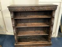 Carved Oak Open Fronted Bookcase (2 of 3)