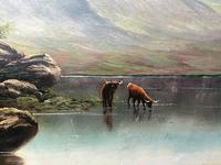 Victorian 19th Century Oil Painting Scottish Highlands Loch Cattle Drinking (4 of 12)