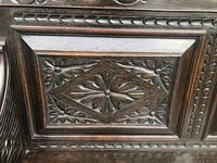 Antique English Carved Oak Hall Bench Settle (8 of 10)